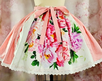 Floral Lolita Skirt - Classic or Sweet Lolita, Kawaii, Romantic Fashion - Rose Pink Gathered Skirt with Lace and Bow Belt - Made to Order!