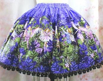 Fairy Print Knee Length Skirt - Sweet Lolita, Classic Lolita, EGL Style - Cute, Full Skirt - Plus Size Friendly!