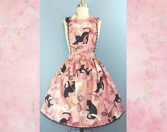 Sweet Lolita Dress - Cats and Bows Print Salopette - Apron Dress, Pinafore, Overall Dress - Pink, Black, or Gray - Plus Size Friendly