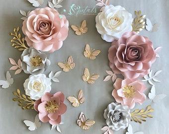 Paper flower set | Dusty Rose Nursery Flowers | Nursery Paper Flower Wall Decor | Wall Flowers | Baby Girl Nursery Flowers