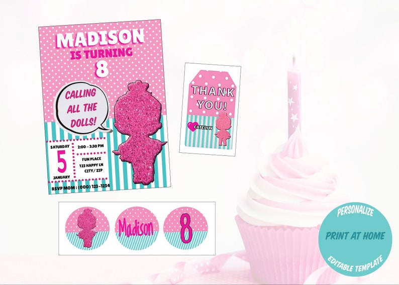 LOL Surprise Doll Inspired Birthday Party Pack, Invitation, Gift Tag,  Cupcake Toppers, Bundle, Digital Download, Templett