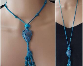Macrame Necklace Turquoise Blue Adjustable Length Interchangeable Crystal Net Pendant Reiki Healing Stone Boho Hippie Jewellery Spiritual