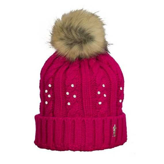 Surprizeshop Ladies Embellished Cable Golf Bobble Hat.  5bfa105bfdcd