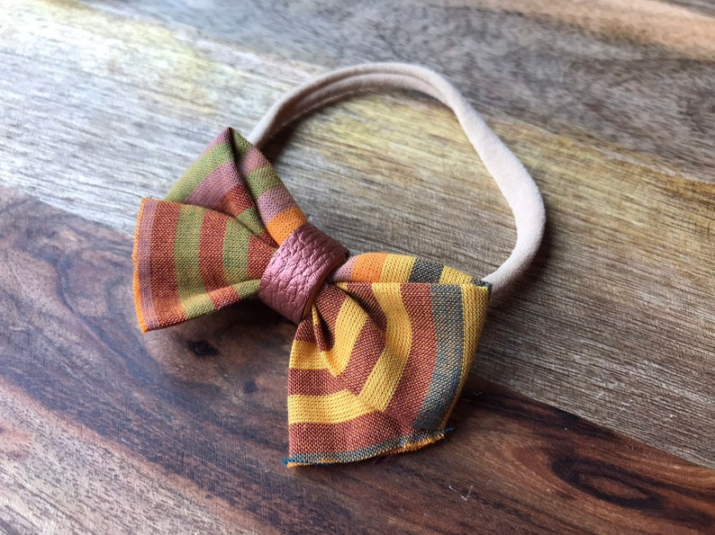 Fall Bow Infant Headband Set Fabric and Faux Leather Bows