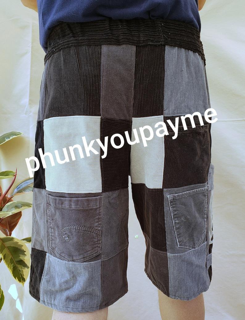 Mens M 35-40 black gray Juggalo handmade ninja patchwork shorts gathering festival