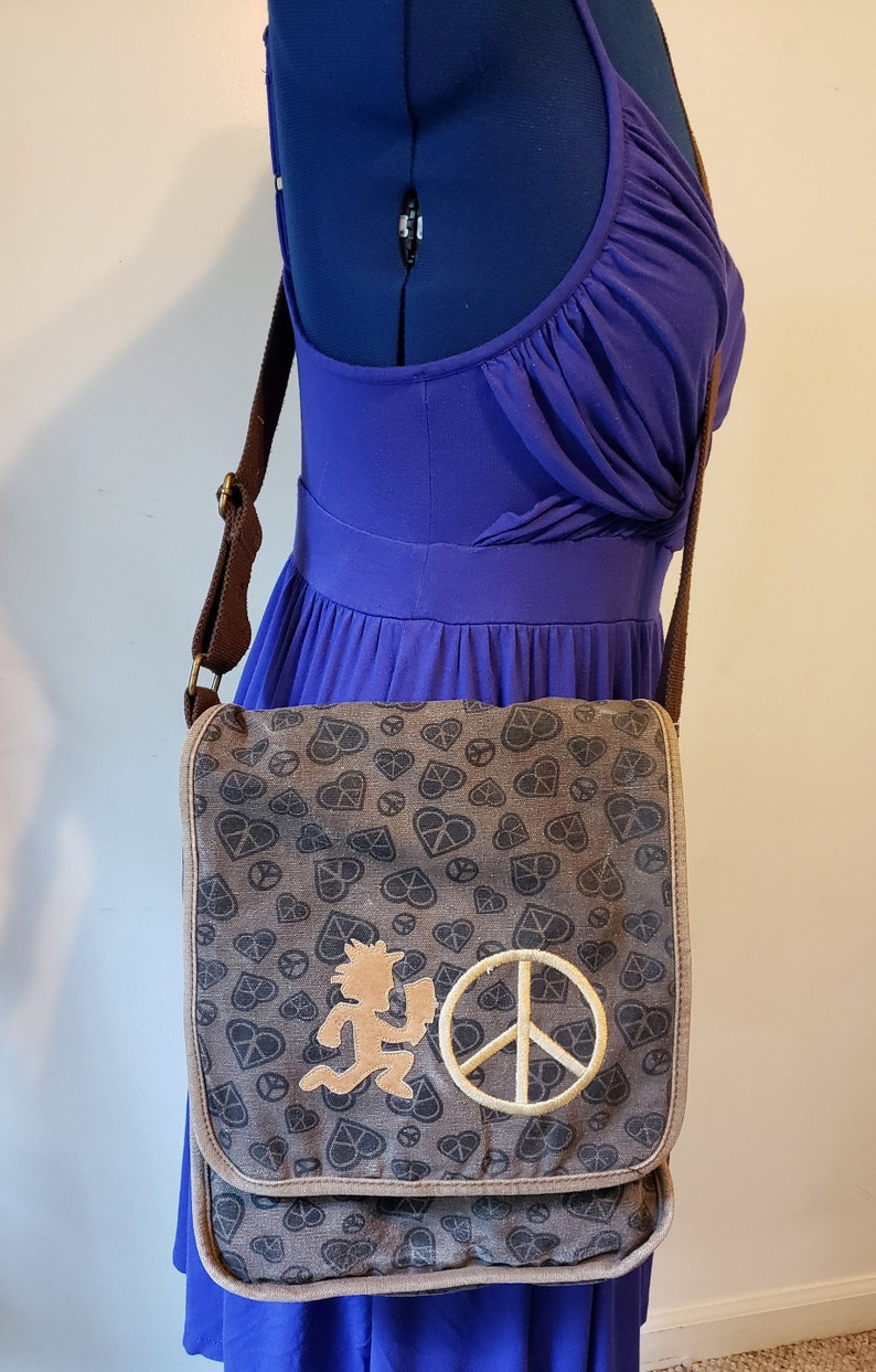 Brown denim peace and heart print upcycle purse crossbody bag hatchet