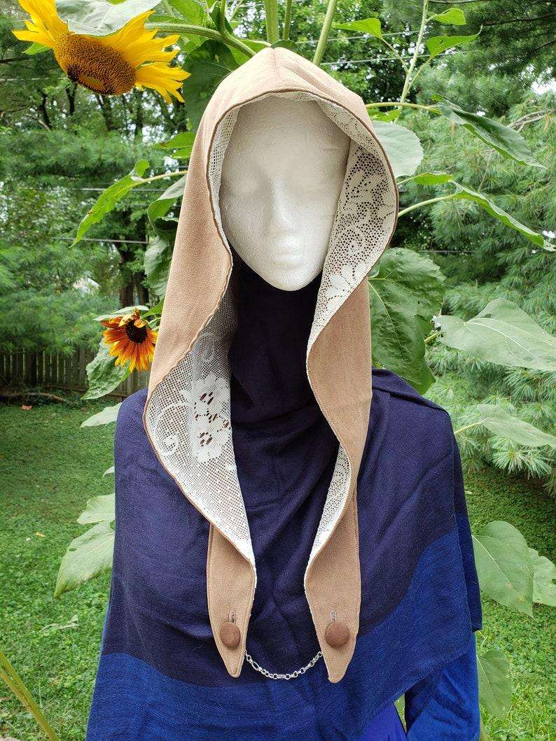 Handmade brown festival hood scarf flow wear wook hat