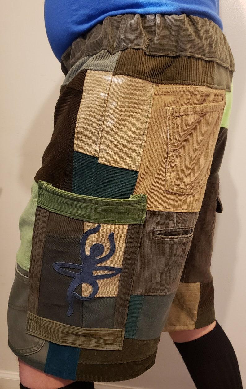 Mens M green Hula Hooper handmade patchwork String Cheese festival shorts 35-40
