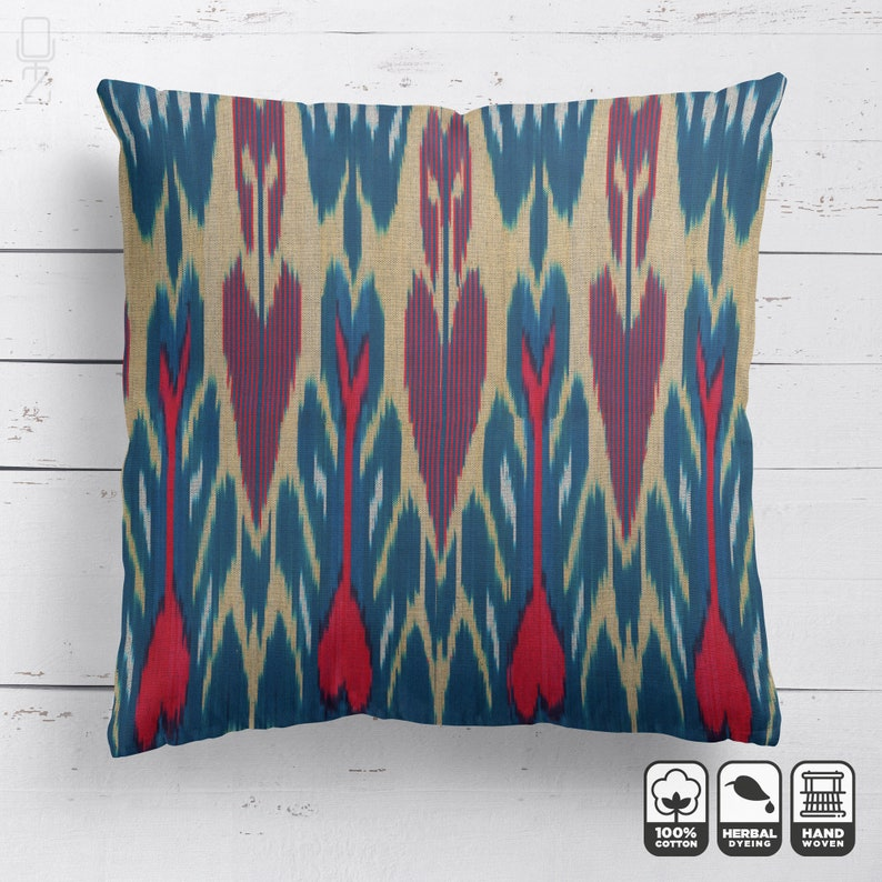 Decorative Bohemian Cushion Cover for Home Decor Ethnic Blue /& Red Cushions 20x20 50x50cm Traditional Handwoven Cotton Cushion Cover