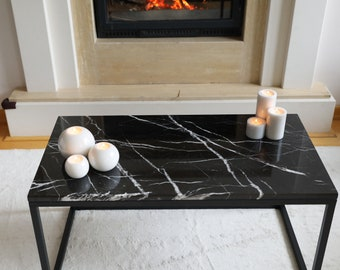Black Marble Coffee Table, Black Coffee Table, Marble Table, Coffee Table,  Exclusive Interior, Decor, Free And Express Shipping
