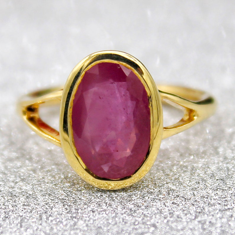 Natural Ruby Oval Ring July Birthstone Ring 18kt gold plated Sterling Silver Bezel Set Ring US 7.5