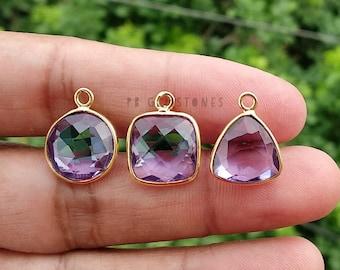 Purple Pyramid Gemstone Earrings Christmas Gift Dangle earrings Alexandrite Pyramid Quartz Purple Alexandrite Trillion Earrings