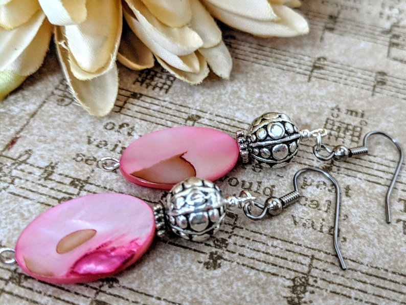 Pink Earrings Natural Jewelry Pewter Mom Birthday Gift from Daughter Boho Dangle Earrings Handmade Mother of Pearl Jewelry Fuschia