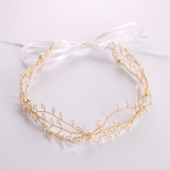 New Handmade Golden Alloy Dragonfly Crystal Headband Rhinestone Bridal Wedding Hair Accessories Simulated Pearls Headband