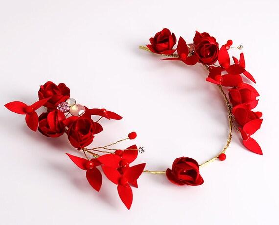 New Korean Handmade Red Rose Headband Crystal Bridal Wedding Hair Accessories Pretty Fairy Prom Dress Headband Decoration