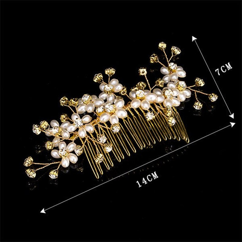 Many Style Gold Color Crystal Simulated Pearl Hair Comb For Wedding Hair Accessories Handmade Bride Hair Jewelry Headpiece Tiara
