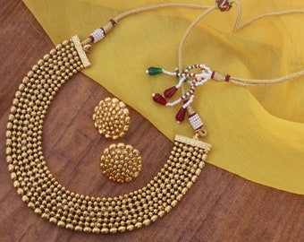 e51191cf7 Gold Plated Necklace Set with Earrings, Adjustable Necklace Jewellery Set,  Choker Necklace, Indian Jewelry, Jewelry Set Bridesmaid Jewellery