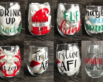 Holiday | Christmas | Winter Stemless Wine Glasses