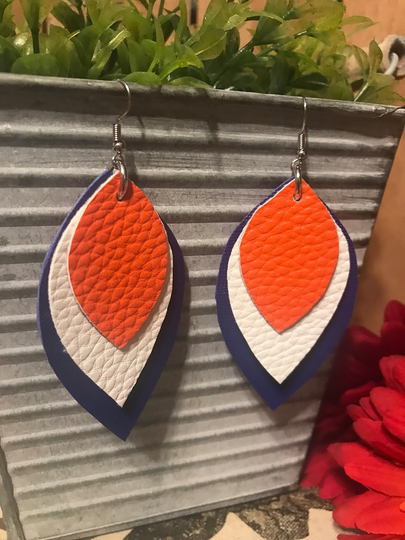 Faux Leather Layered 2.5 Earrings Blue Orange White Astros Sports
