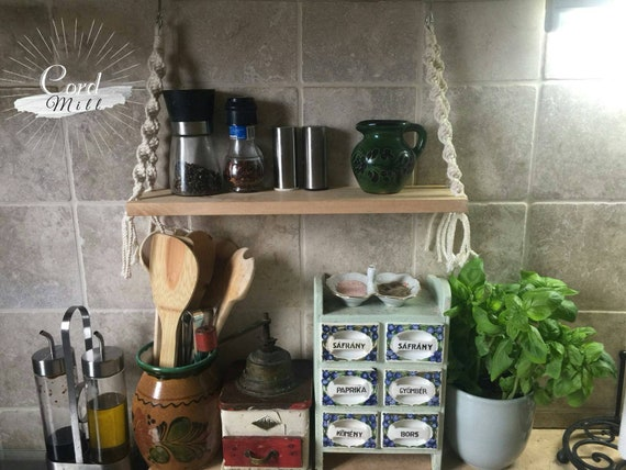 Macrame spice rack. Kitchen hanging shelf