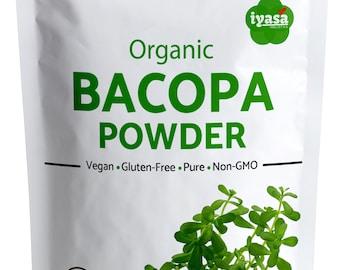 Organic Bacopa Powder, Brahmi Powder,  , Herb for Hair Growth and Brain Function, Capsules Alternative, Ship from U.S.A. , 4,8,16 oz 1 Pound