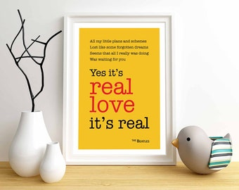 The Beatles Real Love Lyrics Print