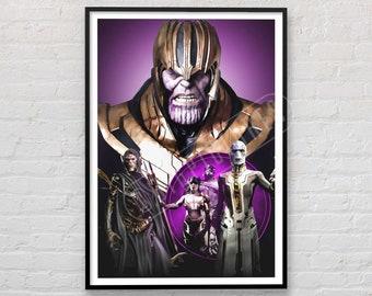 Thanos Poster, Marvel Cinematic Universe, Marvel Art Print, Illustration, Wall Art, Avengers Print