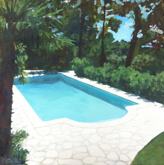 Swimming pool sketch. An original oil painting.