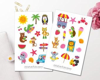 Meer Muscheln Urlaub Set 1 Bullet Journal Maritim Watercolor niedlich Sticker Set Strand Sticker Anker Aufkleber Meer Journal Sticker