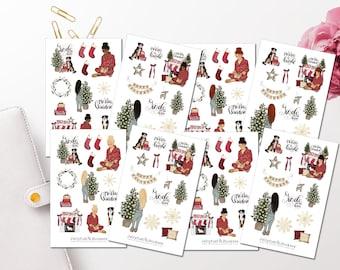 Girls Christmas Sticker Set - Sticker Girls Sticker Plannergirls Sticker Bulletjournal, Holidays, New Year Sticker Sheet