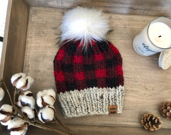 734e47dc580 LARGE CHILD small ADULT Chunky Knit Hat Plaid Hat Faux Fur Pom Pom  Lumberjack Checker Red Black