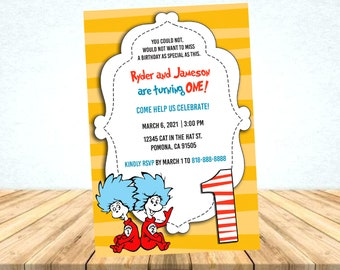 Thing 1 and Thing 2 Cat in the Hat Printable Birthday Digital Invitation
