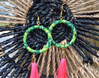 Hoop Ankara Tassel Earrings