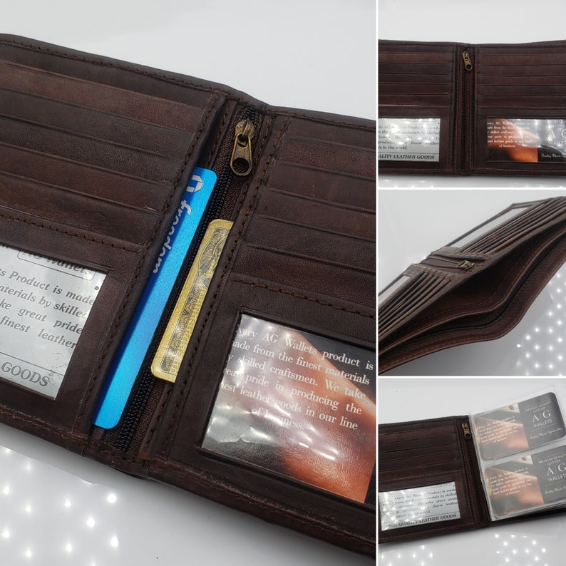 18b0e7b64d1e AG Wallets Men's Premium Cow Leather Big Hipster Bifold Wallet, 2 ID  Windows, Thin SlimFold, Removable Inserts, Brown Leather, Personalized
