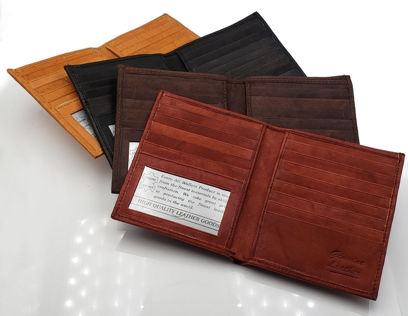 28987ae80f09 AG Wallets Mens Cowhide Leather Slim Hipster Bifold Wallet With Removable  Inserts, Personalized Gift, Hand Made Card Cash & ID Holder