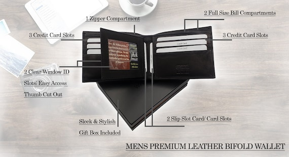 Men/'s Leather Bifold Wallet Center Flip Credit Card 3 Bill Slots with Gift Box