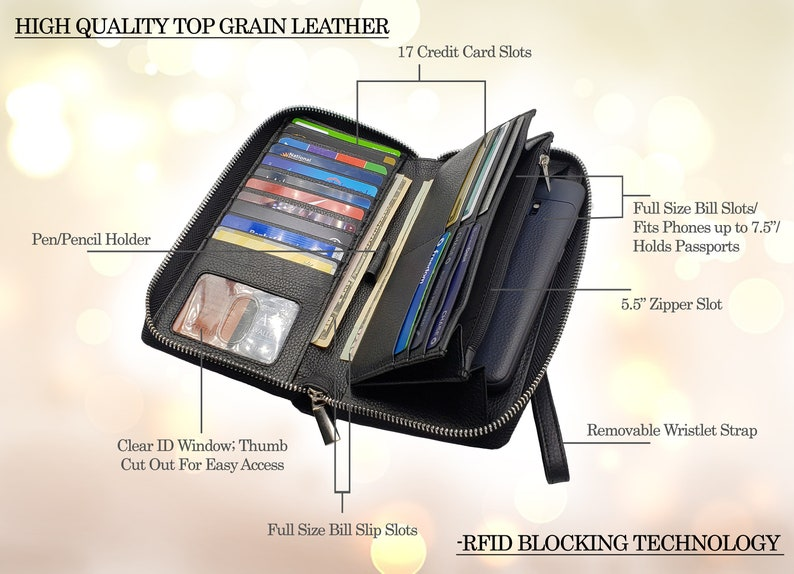 67c3335ca89d AG Wallets Women RFID Blocking Wallet Cowhide Leather Large Capacity Zip  Around Phone Clutch Travel Purse Wristlet Passport Holder Black