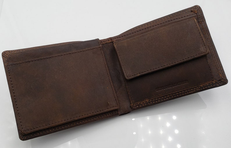 9defbd9aab4c AG Wallets Mens Bifold Minimalist Wallet, Real Leather Slim Style Card  Holder, Vintage Brown Genuine Leather, Snap Close Coin Pocket