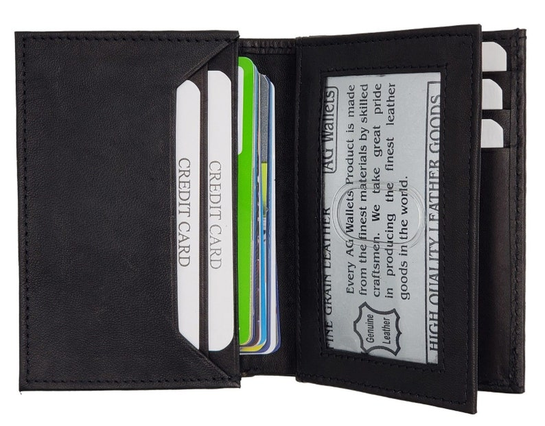 9b38cd671e5b AG Wallets Mens Expandable Business Card Holder Credit Card Slots ID Flap  Black