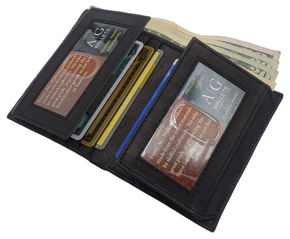 Hand Made Mens Tri Fold Flip ID Wallet Real Genuine Cow Skin Black Leather