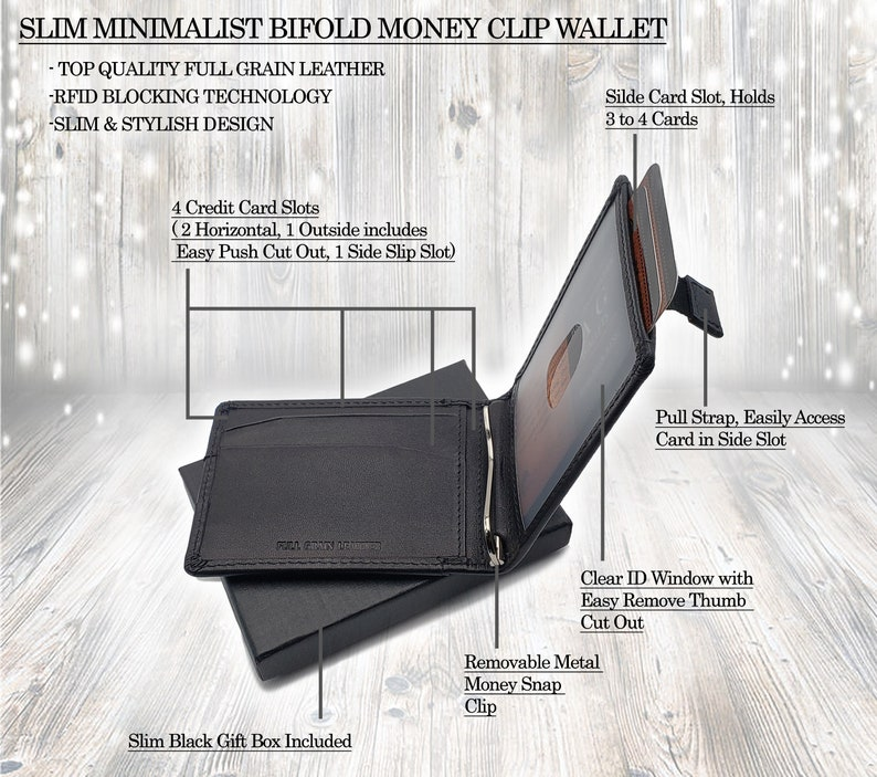 3e77ed8473c0 AG Wallets Mens Black Leather Bifold Wallet, RFID, Slim Design, Minimalist  Money Clip, Full Grain Smooth Leather, Highest Quality Leather!!