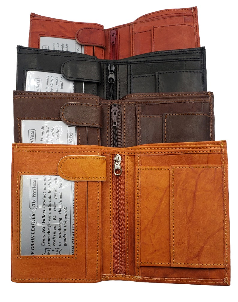 37467195622a AG Wallets Mens Cowhide Leather Hipster Trifold Wallet 3 ID Holders, 8  Credit Card Slots, European Style, Handmade