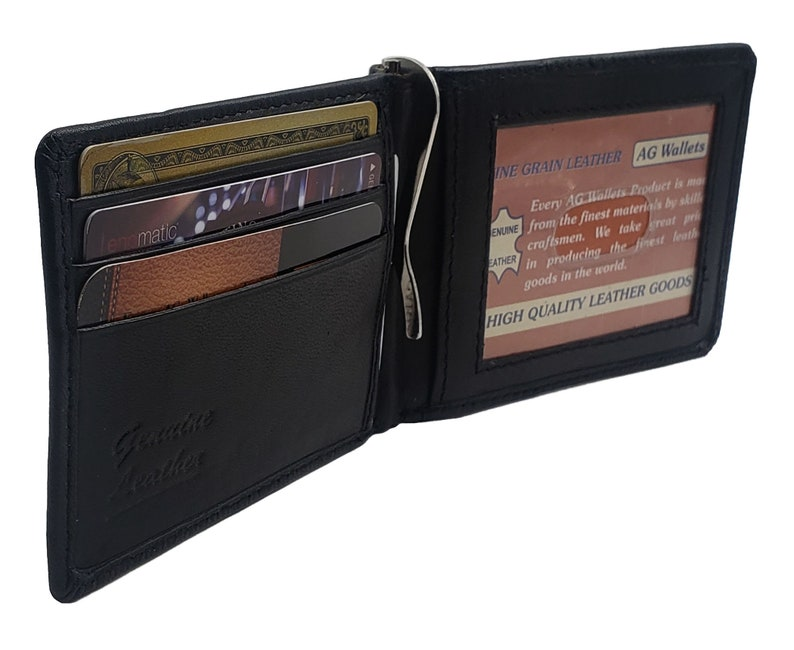 1dcfba6aa384 Personalized AG Wallets Mens Bifold Money Clip Spring Style Leather ID  Front Pocket Wallet