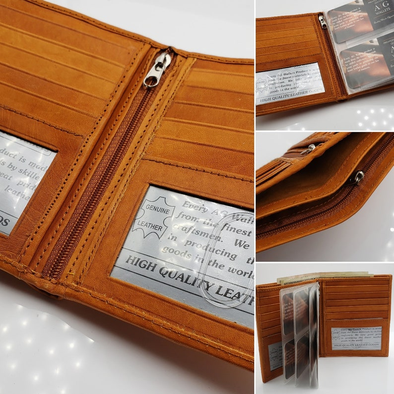 3e103c3c46b7 AG Wallets Men's Premium Cow Leather Big Hipster Bifold Wallet, 2 ID  Windows, Thin SlimFold, Removable Inserts, Tan Leather, Personalized