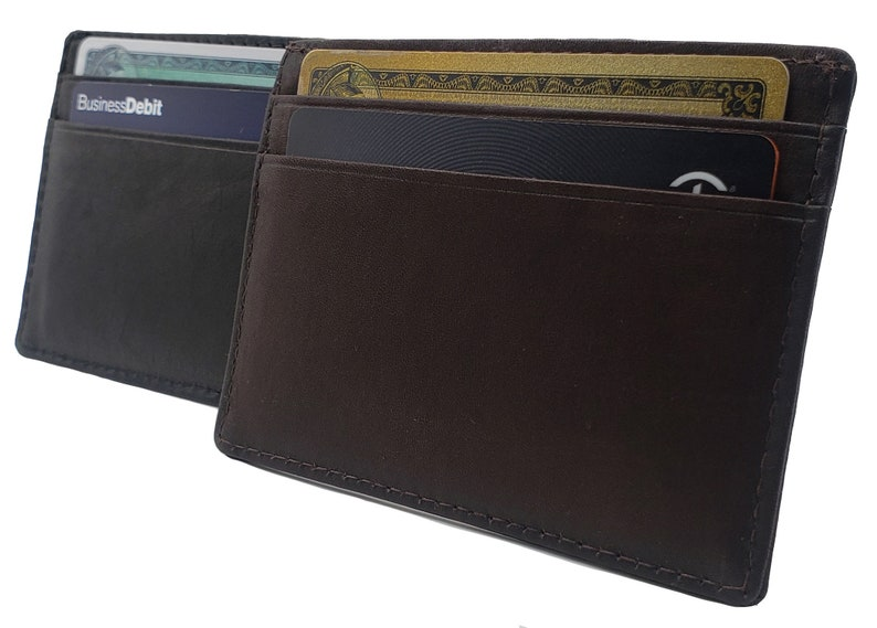 2ad4020cbaa2 Personalized AG Wallets Mens Cowhide Leather Minimalist Front Pocket Cash  Card Holder Wallet