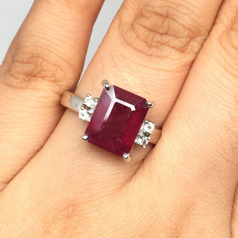 Natural Ruby Unisex Ring ~ African Ruby Ring ~ Unisex Jewelry ~8 x 10 mm Size Emerald Cut Ruby ring ~Set in Sterling Silver ~July Birthstone