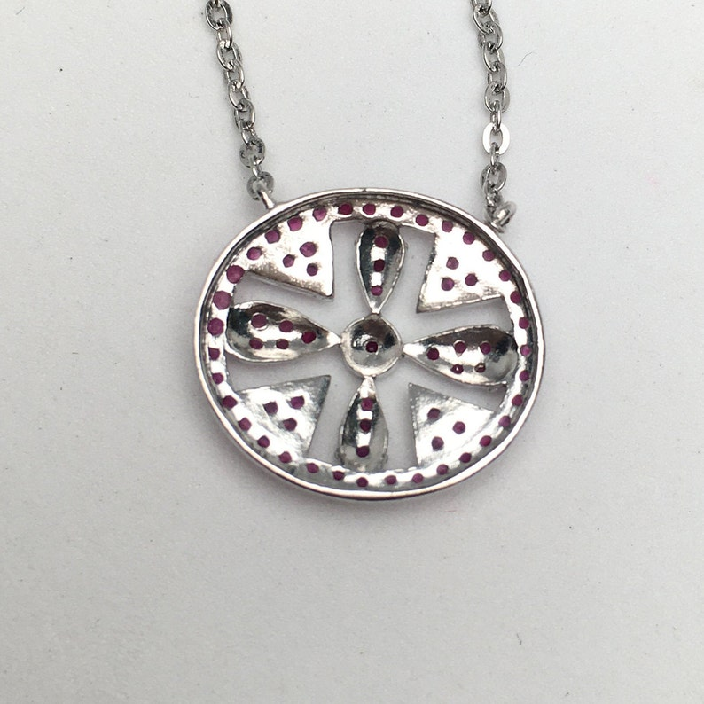 Ruby Necklace ~ Burmese Ruby Cross Necklace ~Sterling Silver White Gold Plated ~Gemstone jewelry ~Gift for her ~July Birthstone