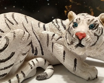 Marked LEPS Small Pottery Standing Tiger Figurine with Raised Black Glossy Stripes and White Detail