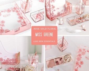 Rose Gold Desk Organizer Set