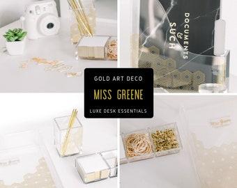 Gold Glam Desk Organizer Set